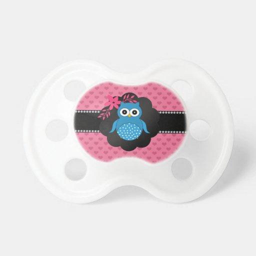 Fancy blue owl pink hearts pacifiers