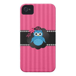 Fancy blue owl pink stripes Case-Mate iPhone 4 case