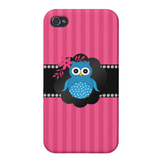 Fancy blue owl pink stripes cases for iPhone 4