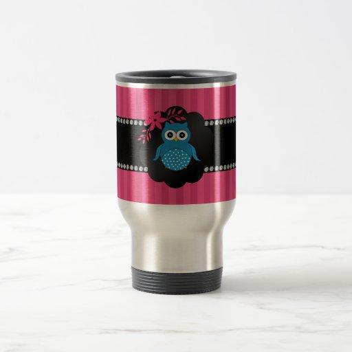 Fancy blue owl pink stripes mugs