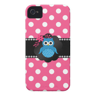 Fancy blue owl pink white polka dots iPhone 4 cases