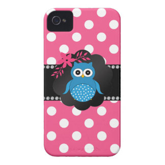 Fancy blue owl pink white polka dots iPhone 4 Case-Mate cases