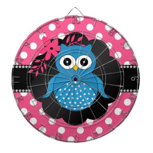 Fancy blue owl pink white polka dots dart board