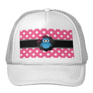 Fancy blue owl pink white polka dots trucker hat