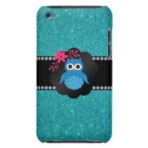 Fancy blue owl turquoise owl barely there iPod case