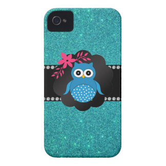 Fancy blue owl turquoise owl Case-Mate iPhone 4 case