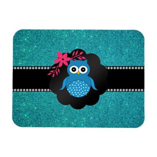 Fancy blue owl turquoise owl flexible magnets