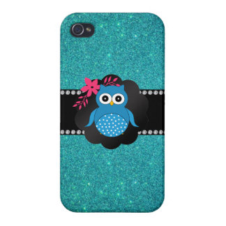 Fancy blue owl turquoise owl cases for iPhone 4