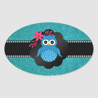 Fancy blue owl turquoise owl oval sticker