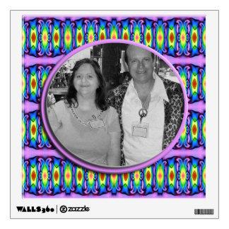 fancy blue purple photo frame wall sticker