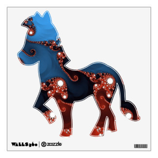 Fancy Blue Red Abstract Wall Decal