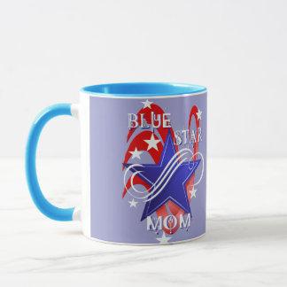 Fancy Blue Star Mom Mugs