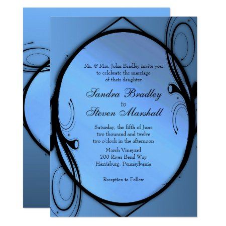 Fancy Blue Wedding Invitation