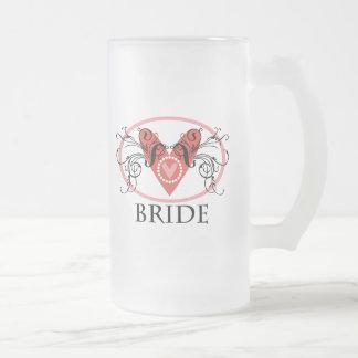 Fancy Bride Frosted Glass Beer Mug