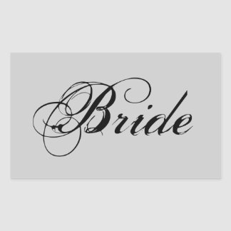 Fancy Bride On Grey Rectangle Stickers