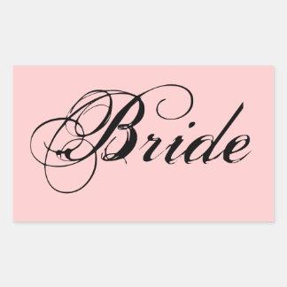 Fancy Bride On Pink Rectangular Sticker