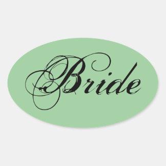 Fancy Bride On Sage Oval Stickers