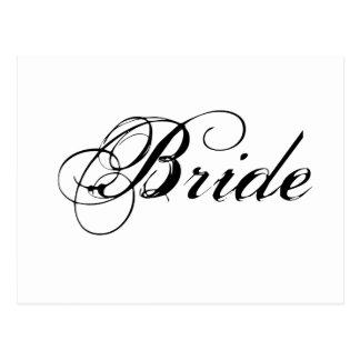 Fancy Bride On White Postcard