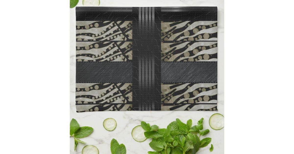 Fancy brown black zebra kitchen towel zazzle for Zebra kitchen set