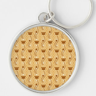 Fancy Brown Thistles Floral Pattern Keychain