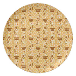 Fancy Brown Thistles Floral Pattern Plates