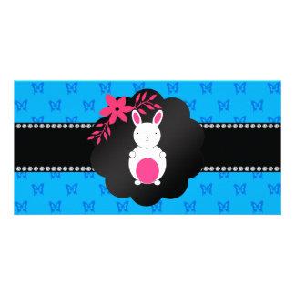 Fancy bunny blue butterfly pattern customized photo card