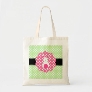 Fancy bunny green white polka dots budget tote bag