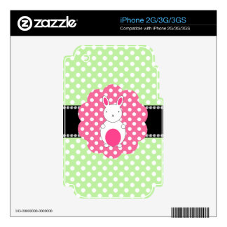 Fancy bunny green white polka dots decal for iPhone 2G
