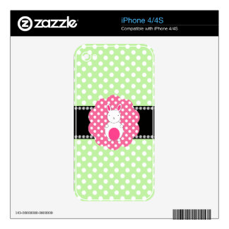 Fancy bunny green white polka dots skins for the iPhone 4S