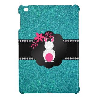 Fancy bunny turquoise glitter iPad mini case