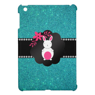 Fancy bunny turquoise glitter iPad mini case