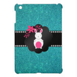 Fancy bunny turquoise glitter iPad mini cover