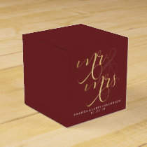 Fancy Burgundy & Gold Wedding Favor Box