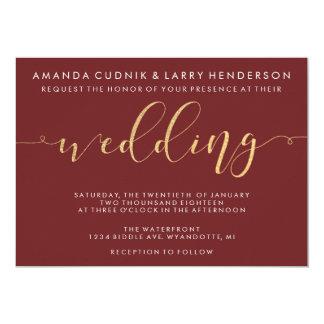 Fancy Burgundy & Gold Wedding Invitation