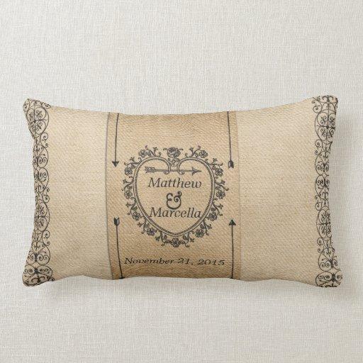 Fancy Burlap Wedding Date Heart Personalized Throw Pillow