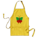 Fancy Butterfly Large With Swirls, Red & Turquoise Apron