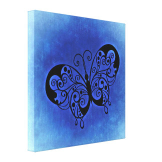 Fancy Butterfly on a Blue Denim background Canvas Print