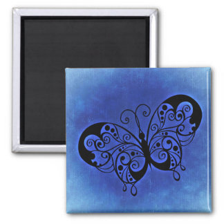Fancy Butterfly on a Blue Denim Background Magnet