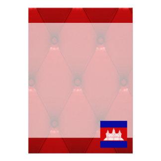 """Fancy Cambodia Flag on red velvet background 5"""" X 7"""" Invitation Card"""