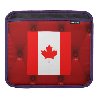 Fancy Canada Flag on red velvet background iPad Sleeve