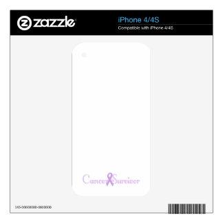 Fancy Cancer Survivor Decals For iPhone 4S