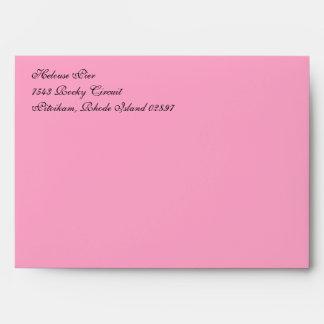 Fancy Carnation Pink A7 Return Address Envelopes