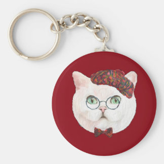 Fancy Cat Lovers Decor Top Hat Bow Tie Glasses Keychain