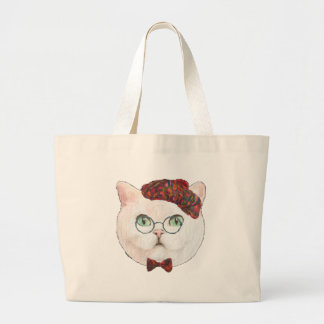Fancy Cat Lovers Decor Top Hat Bow Tie Glasses Large Tote Bag