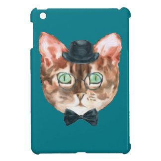 Fancy Cat Lovers Decor Top Hat Glasses iPad Mini Cases