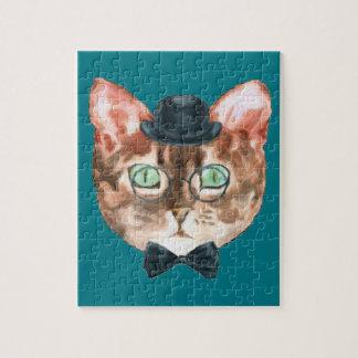 Fancy Cat Lovers Decor Top Hat Glasses Jigsaw Puzzle