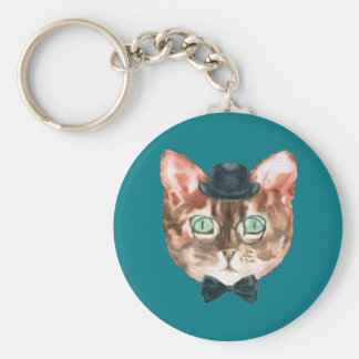 Fancy Cat Lovers Decor Top Hat Glasses Keychain