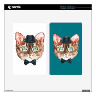 Fancy Cat Lovers Decor Top Hat Glasses Kindle Fire Skin