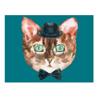 Fancy Cat Lovers Decor Top Hat Glasses Postcard