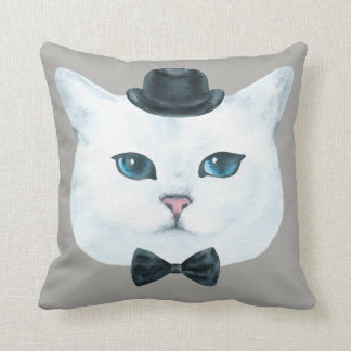 Fancy Cat Pillow 4 with Customizable Background